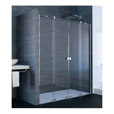 Huppe Xtensa Pure 4-kąt Drzwi prysznicowe przesuwne 2-częściowe z 2 stałymi segmentami 140-160x200 cm, profile czarne black edition, szkło lustrzane XT1001.123.380