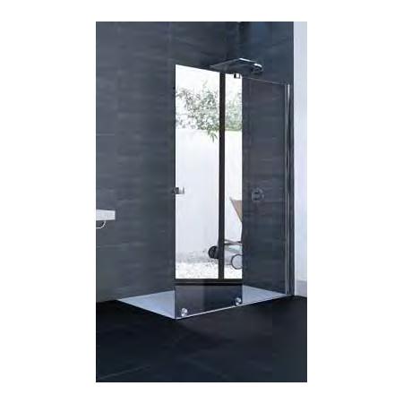 Huppe Xtensa Pure Walk-in częściowo w ramie 4-kąt Drzwi prysznicowe przesuwne 1-częściowe ze stałym segmentem 160,1-180x200 cm, lewe mocowanie, profile czarne black edition, szkło przezroczyste Anti-Plaque XT0109.123.322