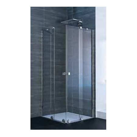 Xtensa Pure 4-kąt Wejście narożnikowe, Drzwi prysznicowe przesuwne 2-częściowe (1/2) 80,1-90x200 cm, prawe mocowanie, profile czarne black edition, szkło popielate Anti-Plaque XT1403.123.368