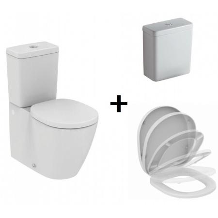 Ideal Standard Connect Zestaw Toaleta WC kompaktowa 66,5x36,5 cm z deską sedesową i zbiornikiem, biały E803701+E712701+E797101