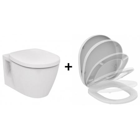 Ideal Standard Connect Zestaw Toaleta WC podwieszana krótka z deską sedesową wolnoopadającą, biały E804601+E712701