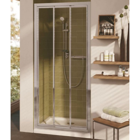 Ideal Standard Connect Drzwi prysznicowe potrójne przesuwne 80 cm, profil srebrny, szkło mrożone T9874EO