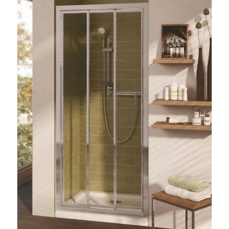 Ideal Standard Connect Drzwi prysznicowe potrójne przesuwne 90 cm, profil biały, szkło przeźroczyste T9869AC