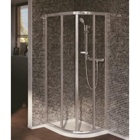 Ideal Standard Connect Kabina prysznicowa półokrągła asymetryczna 80x100 cm, profil srebrny, szkło mrożone T9827EO