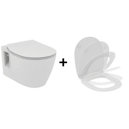 Ideal Standard Connect Zestaw Toaleta WC podwieszana 36x54 cm z deską sedesową wolnoopadającą typu Thin, biała E803501+E772401