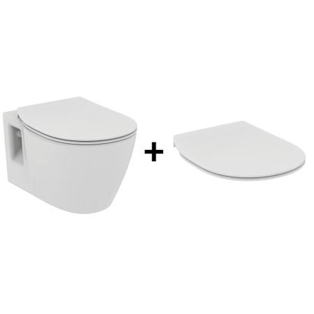 Ideal Standard Connect Zestaw Toaleta WC podwieszana 36x54 cm z deską sedesową zwykłą typu Thin, biała E803501+E772301