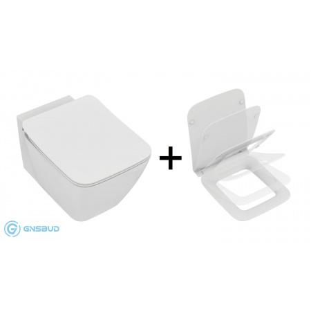 Ideal Standard Strada II Zestaw Toaleta WC podwieszana 54,5x36,5 cm Aquablade z ukrytym mocowaniem i deską sedesową wolnoopadającą Thin, biały T299701+T360101