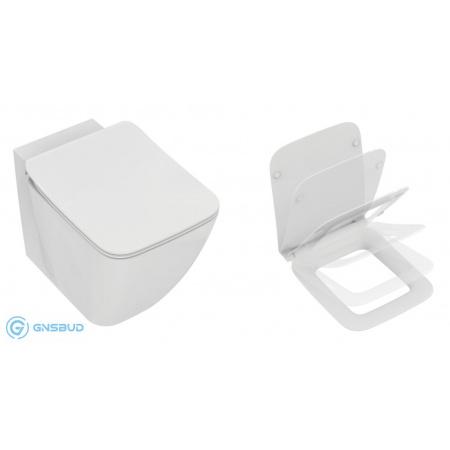 Ideal Standard Strada II Zestaw Toaleta WC stojąca 56x36,5 cm Aquablade z ukrytym mocowaniem i deską sedesową wolnoopadającą Thin, biały T296801+T360101