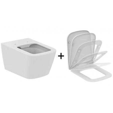 Ideal Standard Strada Zestaw Toaleta WC podwieszana 56x36 cm Rimless bez kołnierza z deską sedesową wolnoopadającą, biały J504701+J505801