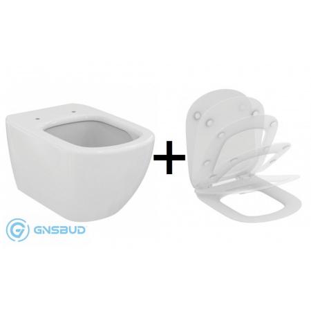Ideal Standard Tesi Zestaw Toaleta WC podwieszana 36,5x55,5 cm AquaBlade z deską sedesową wolnoopadającą, biały T007901+T352701