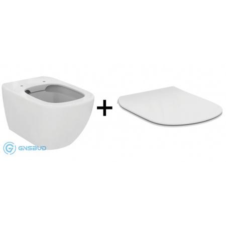 Ideal Standard Tesi Zestaw Toaleta WC podwieszana 55,5x36,5cm Rimless bez kołnierza z deską sedesową zwykłą Thin, biały T350301+T352801