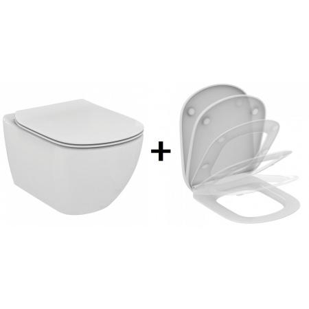 Ideal Standard Tesi Zestaw Toaleta WC podwieszana 55,5x36,5 cm Rimless bez kołnierza z deską sedesową wolnoopadającą Slim, biała T350301+T352901