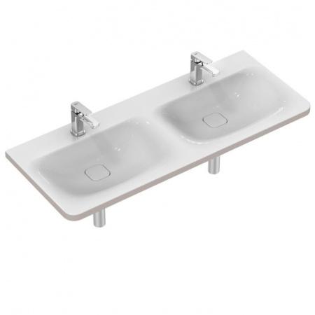 Ideal Standard Tonic II Umywalka podwieszana podwójna 121,5x49 cm z 2 otworami na baterię biała K087301
