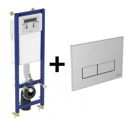 Ideal Standard Zestaw Stelaż podtynkowy do zabudowy lekkiej na toaletę WC podwieszaną z przyciskiem spłukującym 2-funkcyjnym, chrom W370567+W3708AA