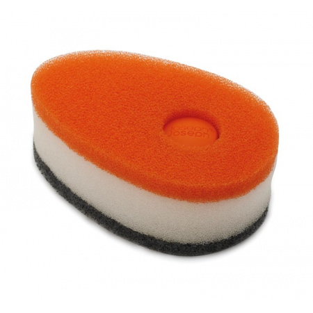 Joseph Joseph Zestaw 3 gąbek do zmywania z pojemnikiem, pomarańczowe 85073