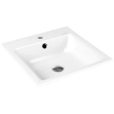 Kaldewei Puro 3150 Umywalka wpuszczana w blat 46x46x1,4 cm z przelewem, z powierzchnią uszlachetnioną, biała 900006013001