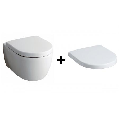 Keramag iCon Zestaw Toaleta WC podwieszana 53x35,5 cm Rimfree z deską sedesową wolnoopadającą Duroplast, biała 204060+574130