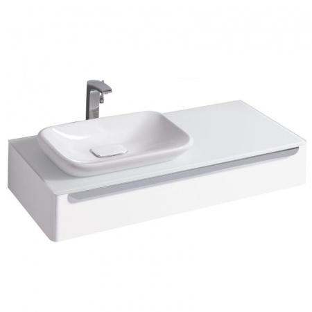 Keramag MyDay Szafka podumywalkowa 115x52x20 cm ze szklanym blatem lewa, biały połysk 824260000