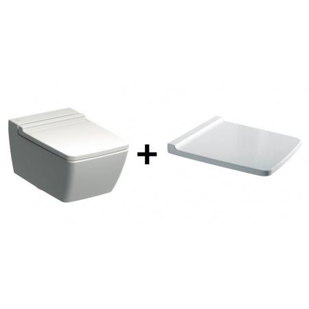 Keramag Xeno2 Zestaw Muszla klozetowa miska WC podwieszana 54x35 cm Rimfree z deską wolnoopadającą, biała 207050000+577050000