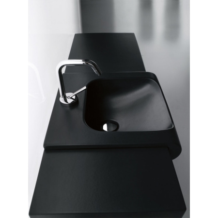 Kerasan Agua Libre Inka Umywalka półblatowa 40x40x35,5 cm czarny mat 341231
