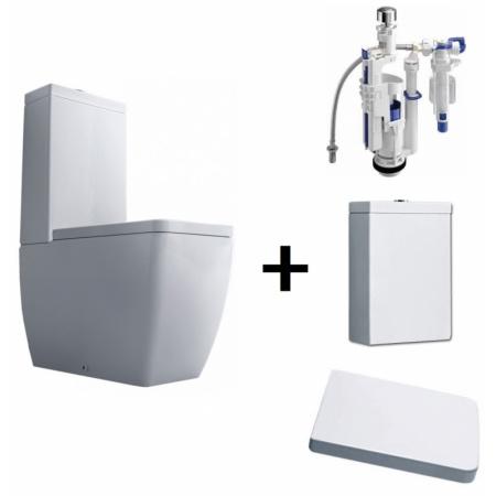 Kerasan Ego Zestaw Toaleta WC kompaktowa 60x35,5 cm z deską sedesową wolnoopadającą i spłuczką z mechanizmem, biały/chrom 3217+328801+318101+750990
