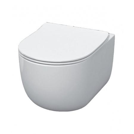 Kerasan Flo Zestaw Toaleta WC podwieszana 54x36 cm Norim bez kołnierza z deską sedesową wolnoopadającą Slim, biały 311101+319101