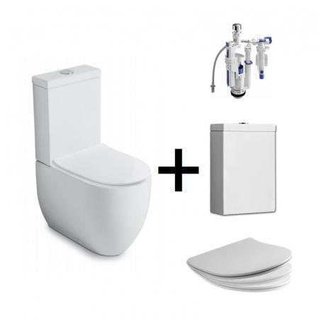 Kerasan Flo Zestaw Toaleta WC kompaktowa 60x36 cm + deska wolnoopadająca + spłuczka + mechanizm spłukujący biały/chrom 311701+319101+318101+750990