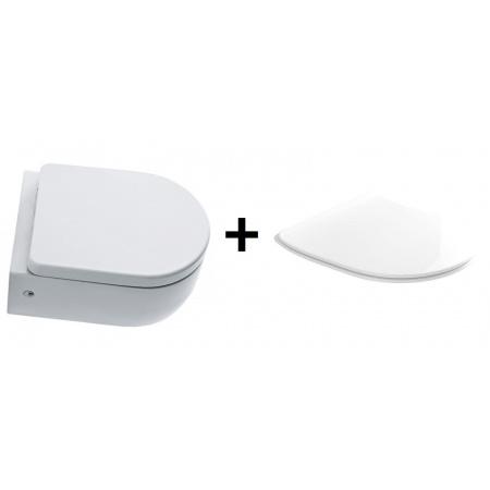 Kerasan Flo Zestaw Toaleta WC podwieszana 36x50 cm z deską sedesową wolnoopadającą Slim, biały 3115+319101