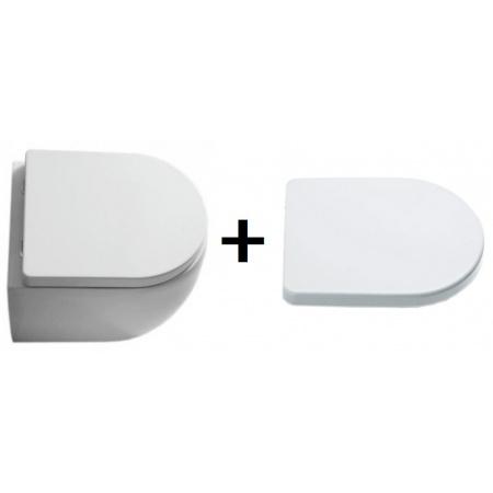 Kerasan Flo Zestaw Toaleta WC stojąca 48x36 cm z deską sedesową zwykłą, biała 311401+318901
