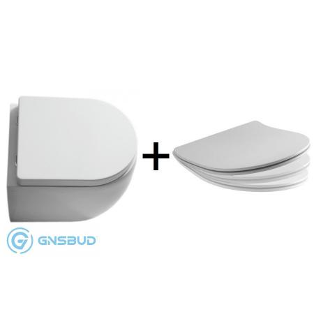Kerasan Flo Zestaw Toaleta WC stojąca 48x36 cm z deską wolnoopadającą Slim, biały 311401+319101