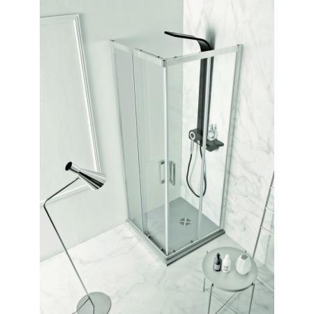 Kerasan NoLita Drzwi prysznicowe przesuwne narożne 80x200 cm z powłoką EasyClean, profile chrom szkło przejrzyste 745704