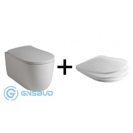 Kerasan NoLita Zestaw Toaleta WC podwieszana 55x35 cm Norim bez kołnierza z deską sedesową wolnoopadającą, biała 531401+539201