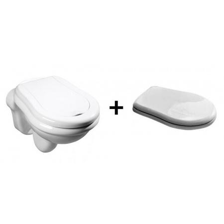 Kerasan Retro Zestaw Toaleta WC podwieszana 52x38 cm z deską sedesową zwykłą, biały 101501+109001
