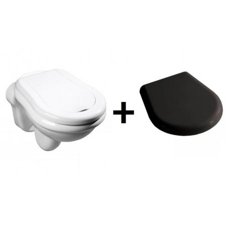 Kerasan Retro Zestaw Toaleta WC podwieszana 52x38 cm z deską sedesową wolnoopadającą, biały/czarny 101501+108804