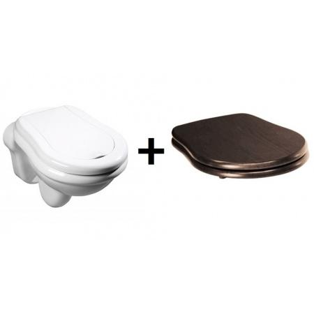 Kerasan Retro Zestaw Toaleta WC podwieszana 52x38 cm z deską sedesową drewnianą wolnoopadającą, biały/orzech/chrom 101501+108840