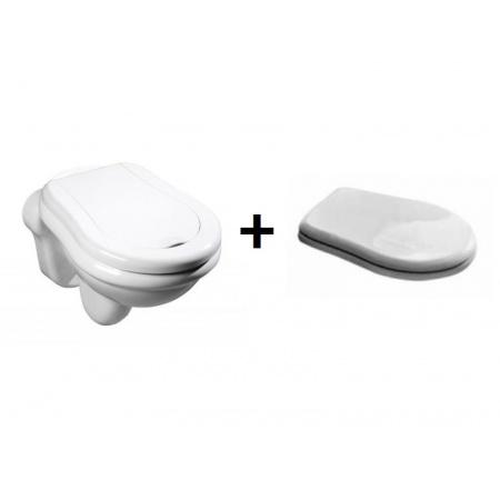 Kerasan Retro Zestaw Toaleta WC podwieszana 52x38 cm z deską sedesową wolnoopadającą, biały 101501+108801