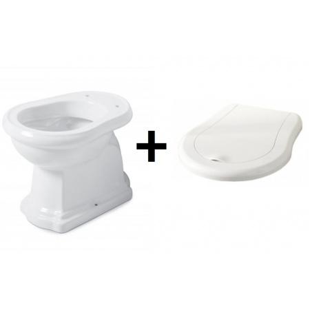 Kerasan Retro Zestaw Toaleta WC stojąca 53x38,5 cm odpływ poziomy z deską sedesową wolnoopadającą, biały/chrom 101101+108901