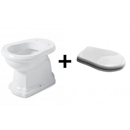 Kerasan Retro Zestaw Toaleta WC stojąca 53x38,5 cm odpływ poziomy z deską sedesową zwykłą, biały/chrom 101101+109001