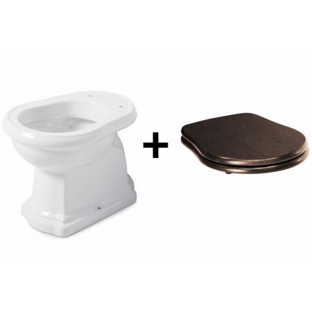 Kerasan Retro Zestaw Toaleta WC stojąca 53x38,5 cm odpływ poziomy z deską sedesową drewnianą wolnoopadającą, biały/orzech/chrom 101101+108840