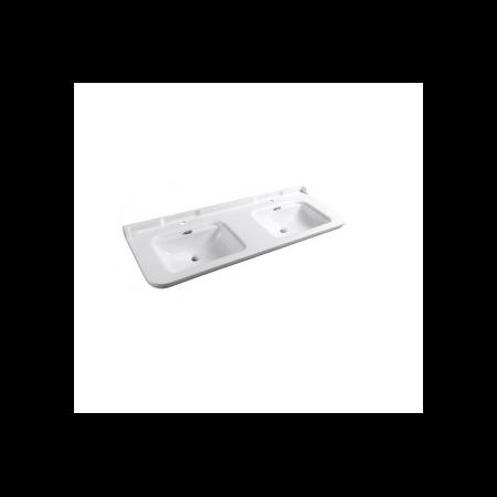 Kerasan Waldorf Umywalka podwójna 1-otworowa 150x55cm z przelewem, biała wykończenie chrom 4143K1