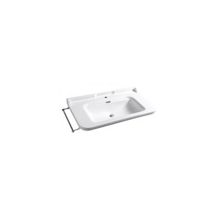 Kerasan Waldorf Umywalka wisząca 100x55cm, z przelewem, z otworem, biała wykończenie chrom 4142K1
