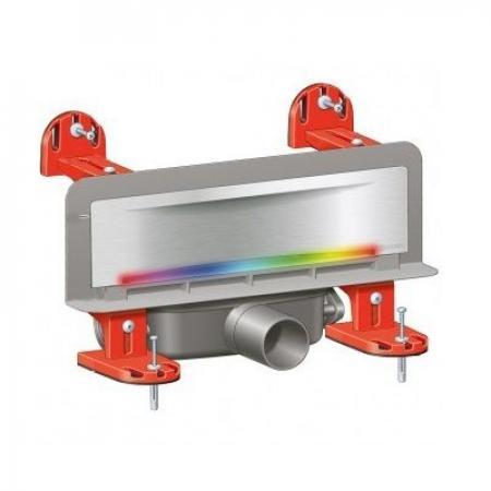 Kessel Scada Odpływ ścienny LED RGB z pokrywą Wave, z zamontowaną matą, stal nierdzewna/szary 48003.43M