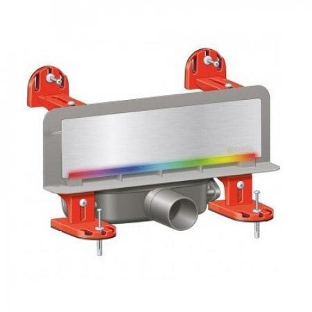 Kessel Scada Odpływ ścienny LED RGB z pokrywą ze stali nierdzewnej, z zamontowaną matą, stal nierdzewna/szary 48003.44M