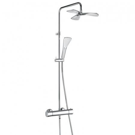 Kludi Fizz Zestaw prysznicowy natynkowy z deszczownicą i termostatem, chrom 6709505-00