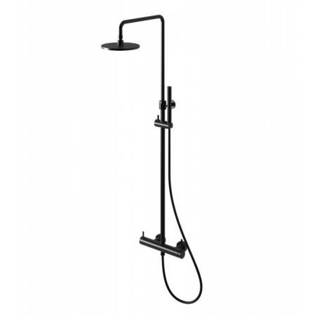 Kohlman Axel Black Zestaw prysznicowy natynkowy z deszczownicą czarny mat QW276AB