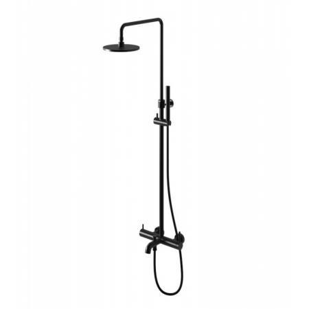 Kohlman Axel Black Zestaw prysznicowy natynkowy z deszczownicą i wylewką czarny mat QW277AB