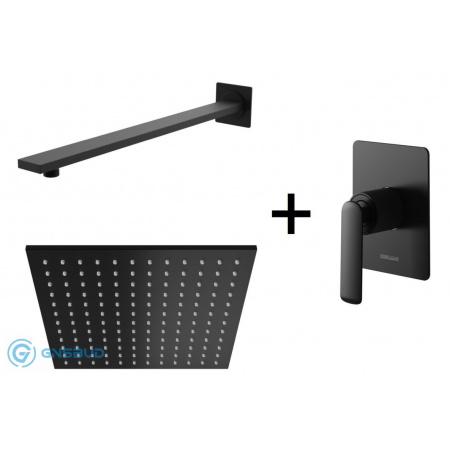 Kohlman Experience Black Zestaw prysznicowy podtynkowy z deszczownicą 25x25 cm, czarny mat QW220EBQ25