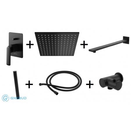 Kohlman Experience Black Zestaw prysznicowy podtynkowy z deszczownicą kwadratową 25x25 cm, czarny mat QW210EBQ25