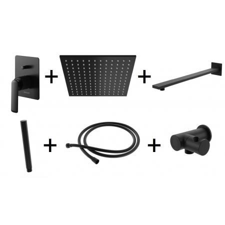 Kohlman Experience Black Zestaw prysznicowy podtynkowy z deszczownicą kwadratową 25x25 cm czarny mat QW210EBQ25