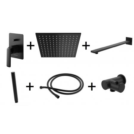 Kohlman Experience Black Zestaw prysznicowy podtynkowy z deszczownicą kwadratową 30x30 cm czarny mat QW210EBQ30